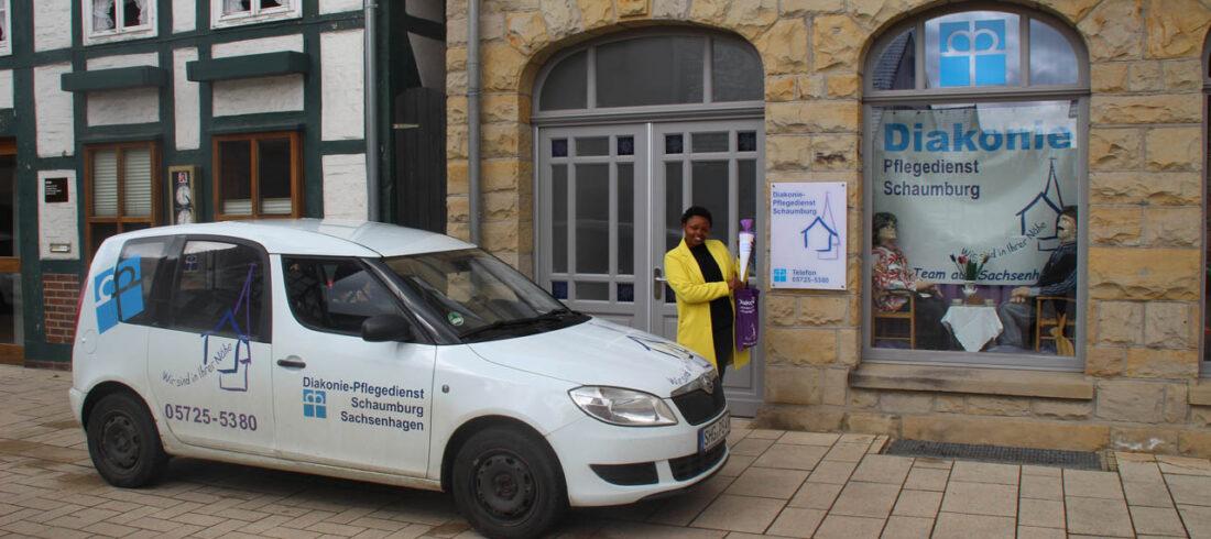 Ejidiaih Kagure Wittenberg, erster Arbeitstag als Auszubildende im April 2021
